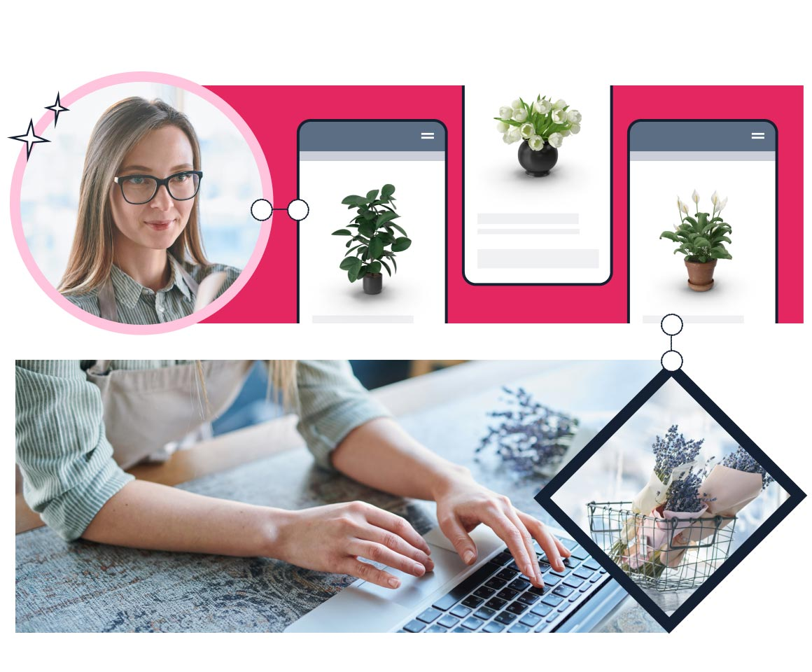 A young blonde woman using her laptop and mobile to shop online for plants and flowers
